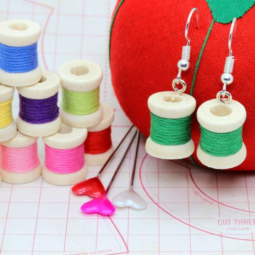 Bluebubble SEW SWEET Bobbin Cotton Reel Earrings with FREE Gift Box